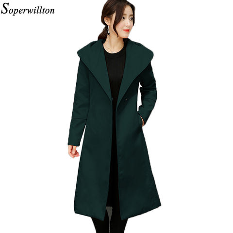 Soperwillton 2017 Autumn Winter Women Coats Single Button Wool Long Coats Womens Wool jacket Ladies Solid Coats #VA121