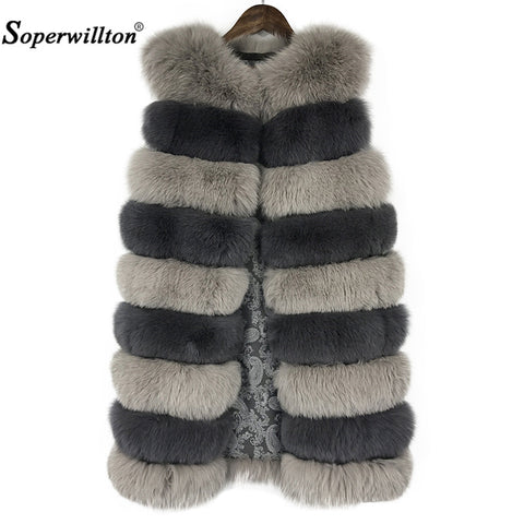 Soperwillton 2017 New Red Fox Fur Vest Coat For Women Winter Outwears Slim Fit Thicken Warm Fur Coat Pure Fox Nine Spots F05