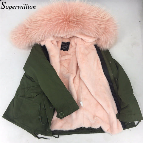 Soperwillton 2017 Thicken Warm Parka Winter Coat Fur Jacket Coats Luxury Large Raccoon Fur Hooded Women Furcoat Female Parkas