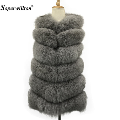 Soperwillton Warm Real Fox Fur Vest Outerwear Fur Overcoat Vest Waistcoat Women's Winter Jacket Female Natural Fur #A004