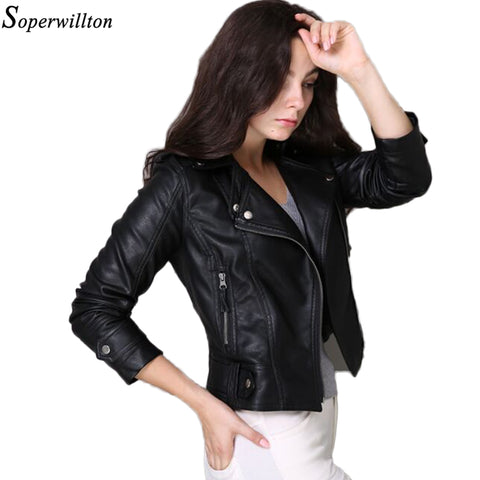 Faux Soft Leather Jackets HOT New Fashion Autumn Winter Women Pu Black Blazer Zippers Coat Motorcycle Outerwear pimkie 3XL#PF226