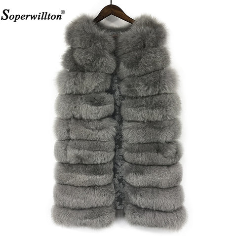 Soperwillton 2017 New Red Fox Fur Vest Coat For Women Winter Outwears Slim Fit Thicken Warm Fur Coat Pure Fox F02