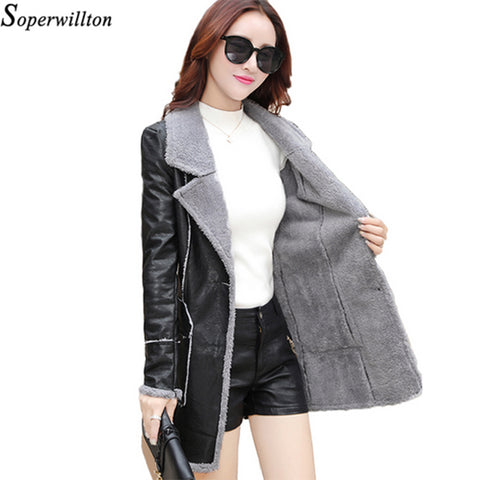 winter jacket Suede coats Women fashion 2017 Motorcycle long jacket Autumn Shearling Sheepskin PU leather long plus size #PR352
