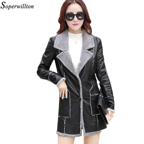 2017 winter Motorcycle Coat Shearling Sheepskin Coats Women Thick Suede Jackets Women Autumn Winter Lambswool long  #PR352