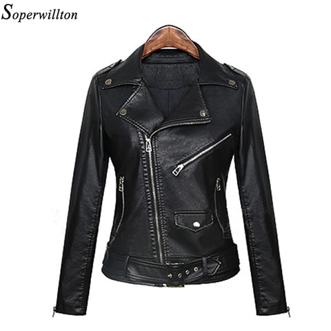 2017 new fashion black Motorcycle PU Jackets Women Spring Autumn Faux Washed Leather Zipper winter jacket slim short Coat#PF225
