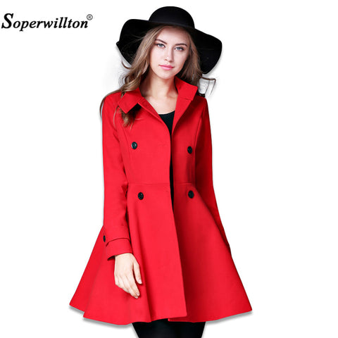 Soperwillton 2017 Women Winter Autumn Jacket Women's Wool Long Women Coat Slim Long Style Soild Woolen Coat Female Jacket #A994