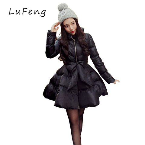 New Arrival Bow Waist Fluffy Skirt A Warm Coat Jacket  Parkas For Women Winter Coat Women Down And Parkas 2017 Long A1