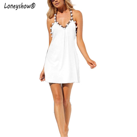 Loneyshow 2017 Hot Sale Women's Fashion Summer Beach Dress New Backless Spaghetti Strap Sexy V-neck Hairball Party Mini Dresses