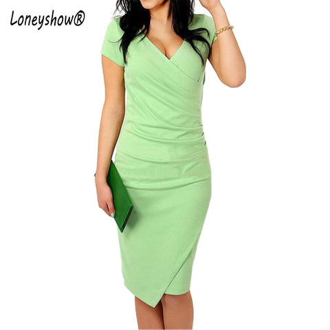 Loneyshow 2017 New Summer Womens Pencil Dresses  Asymmetrical Candy Color Sexy V Neck Bodycon Office Elegant  Dress Big Size