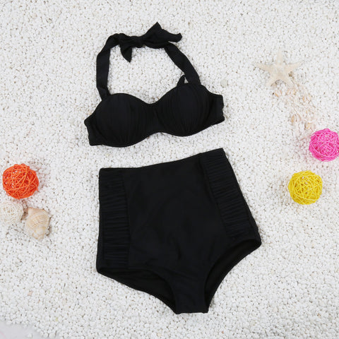 Women RETRO Waist Set Swimwear Beachwear Sexy Bikini water Tights No fertilizer There chest pad FD81602