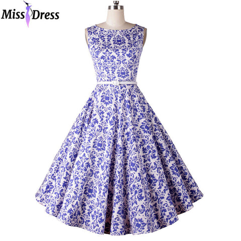 50s Vintage Women Summer Dresses 2016 Retro Audrey Hepburn Blue Printed Sleeveless Big Bow Party Rockabilly Dresses MISSDRESS