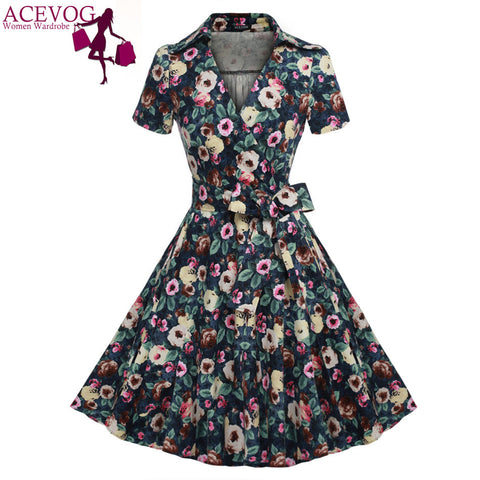 ACEVOG Brand Women Dress 2016 Newest Fashion Vintage Tunic Casual Summer Mid Calf  Long Swing Dresses For Lady Elegant Clothing