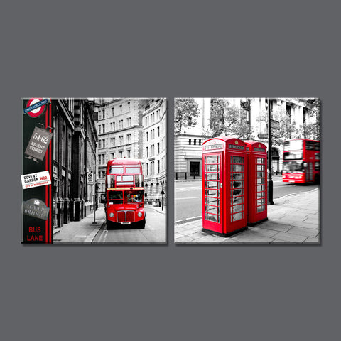 2 Panel Modern London city Canvas art Painting on the Wall Modular Pictures vintage home decor Canvas Painting for Living Room