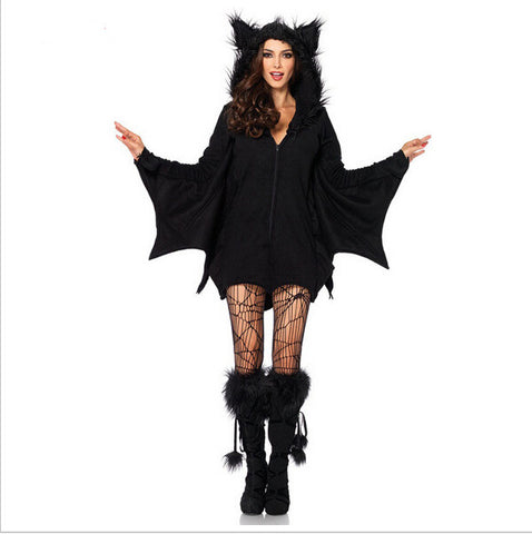 2016 New Arrival  Black Evil Vampire Bat Costume Women Halloween Costumes Plays Vampire Devil Costume