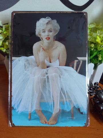 CLEARANCE - MODSQUID STOCK: Vintage metal painting retro metal tin sign 20cm*30cm Marilyn Monroe 1 art posters wall stickers home cafe bar pub wall decor