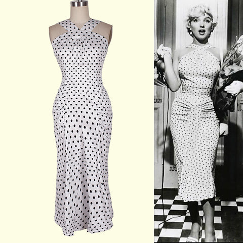 0152-50s vintage Audrey Hepburn pinup rockabilly black polka dot sexy wiggle pencil dress