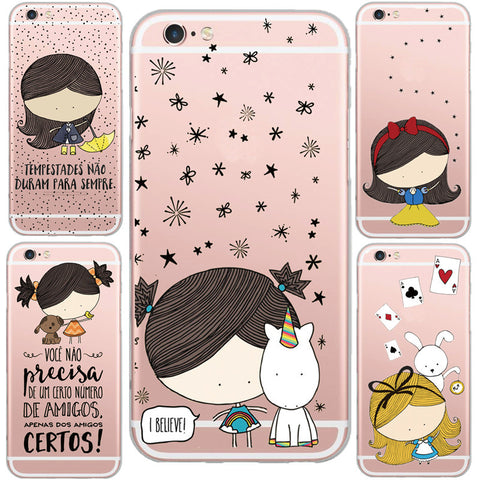 CLEARANCE - Lovely Cartoon Girl And Unicorn Pattern Clear Silicon Gel Mobile Phone Case for iphone 6 6S 6 Plus Soft Transparent Capa Cases