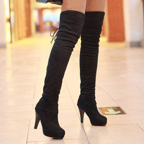 CLEARANCE - MODSQUID STOCK: Women Boots Thigh High Boots Over The Knee Boots Round Toe Platform Thick High Heels Boot Ladies Lace Up Solid Brown Shoes 59A90