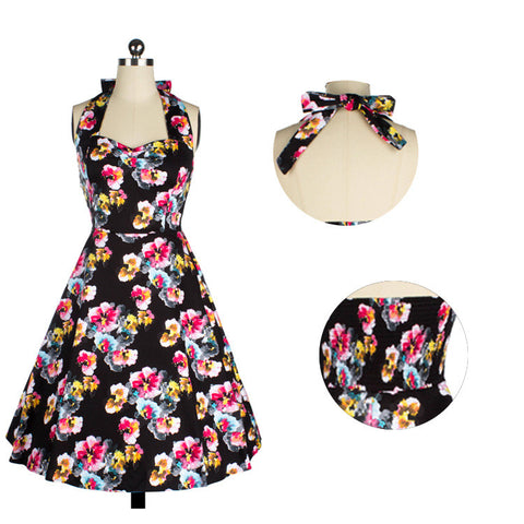 2016 New vestido audrey hepburn dress 60s 1950s 1940s Robe Femme Flower Print Halter Neck Pin Up Rockabilly 50s Vintage Dress