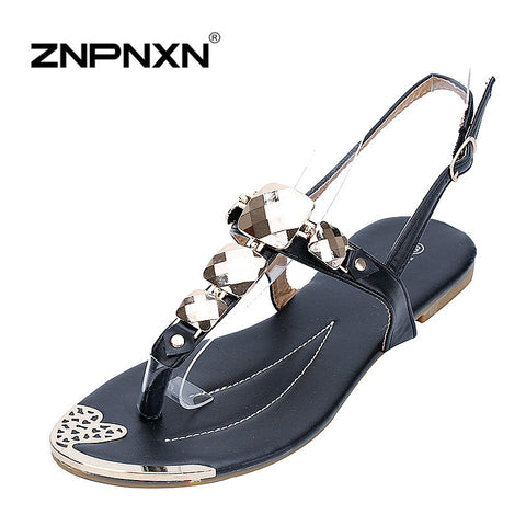 CLEARANCE - MODSQUID STOCK: ZNPNXN Fashion Women's Sandals Flip Flops Shoes Women Sandals Sandale Femme Rhinestone New Trend