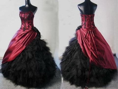 Ball Gowns Gothic Wedding Dresses Halloween Burgundy Black Appliqued Black Ruffle Tulle Lace-up y Corset Bridal Gowns Alternative Measures - Brides & Bridesmaids - Wedding, Bridal, Prom, Formal Gown