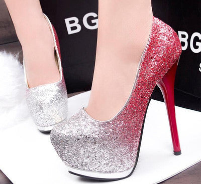 14 cm high heels fine with waterproof table gradient red silver light mouth fish mouth shoes of marriage