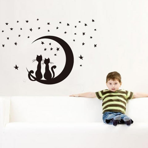 CLEARANCE - MODSQUID STOCK: Newest Cute DIY Two Cats Sitting on Moon with Stars Vinyl Wall Sticker Home Bedroom Decal
