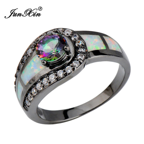 CLEARANCE - MODSQUID STOCK: Rainbow Ball Female Opal Ring Black Gold Filled Jewelry Natural Stone Wedding Rings For Men And Women Anel Feminino Merk RB0309