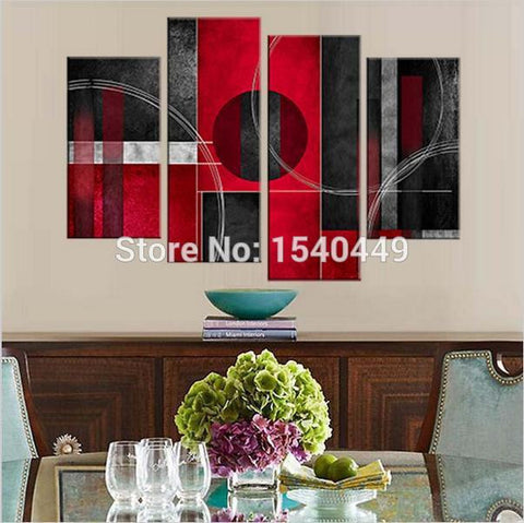100% Hand painted canvas black white and red paintings cheap modern abstract oil painting home decoration 4 panel wall art 433