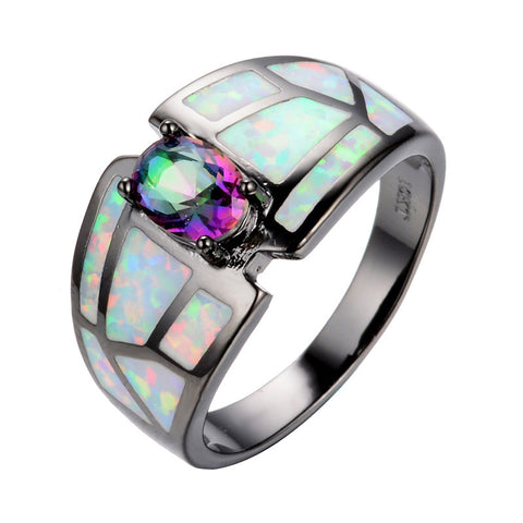CLEARANCE - MODSQUID STOCK: Summer Rainbow Fine jewelry Size 6/7/8/9 Women Finger Rings 14KT Black Gold Filled Zircon Opal Stone Wedding Ring anel feminino