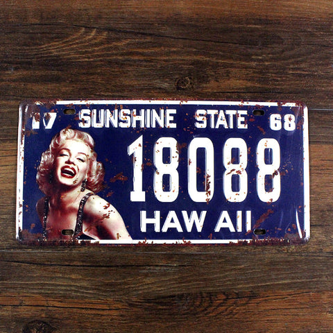 "CLEARANCE - MODSQUID STOCK: SYF-A020 license plate car number""HAW ALL 18088 marilyn monroe""vintage metal tin signs garage painting home decor plaque 15x30cm"