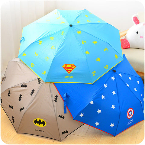 2015 hot selling ideas three folding umbrella,Folding umbrella superheroes the Avengers umbrella gave gifts to kids.