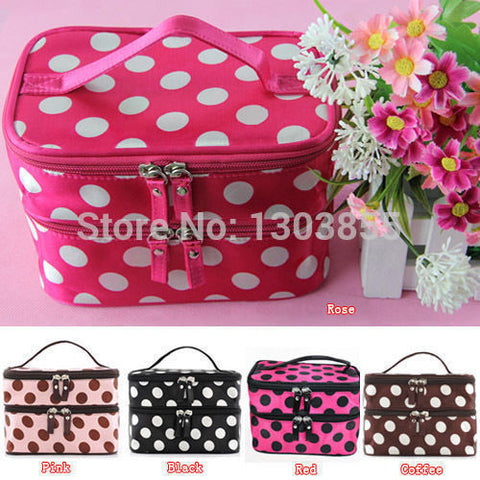 CLEARANCE - MODSQUID STOCK: WOMENs RETRO Dot Beauty Case MAKEUP Large Cosmetic Set Toiletry Bag Alternative Measures