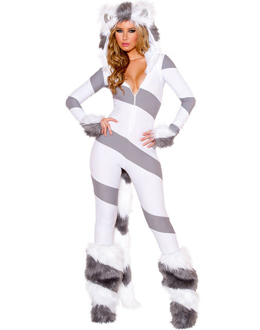 2016 Furry  Animal Costume Pretty Kitty Catsuit Women  Halloween Costumes Sexy Animal Costume .Including Gloves and leg warmers.