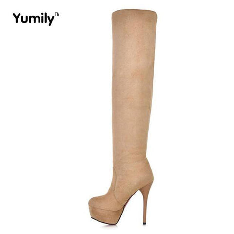 13cm high-heeled shoes knee-length  tall boots elastic long boots thin womens boots plus size high-leg 42