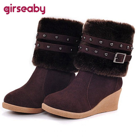 CLEARANCE - MODSQUID STOCK: [4 Colors] New 2015 Fashion Women Snow boots Wedges Slip-on Women Winter boots shoes Popular Style Fashion Rivets Buckle Warm