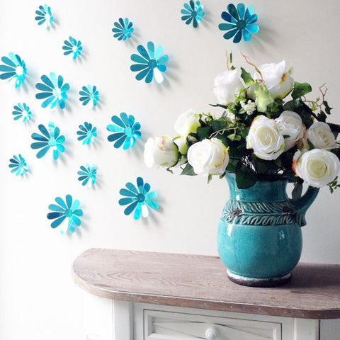 12pcs/set 3D DIY Flower Wall Stick Home Decoration Decal Mirror Wall Stickers