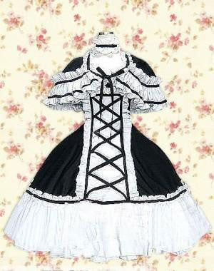 Black And White Lace Ruffles Cotton Gothic Lolita Dress lolita costumes cosplay halloween christmas Alternative Measures - Brides & Bridesmaids - Wedding, Bridal, Prom, Formal Gown