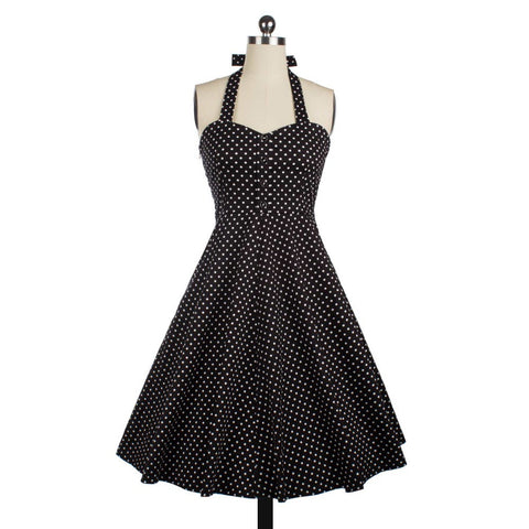 Audrey Hepburn vintage polka dot halter neck swing dress women cocktail party sweet y 50s 60s dresses robe de fiesta Alternative Measures - Brides & Bridesmaids - Wedding, Bridal, Prom, Formal Gown