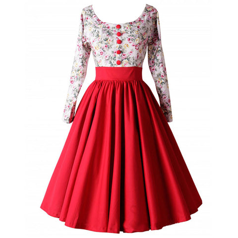 2015 Womens Autumn and Winter Floral Printed Audrey Hepburn 1950s 60s Vintage Retro Style Rockabilly Swing Party Dresses