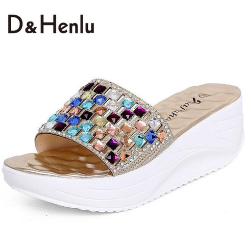 CLEARANCE - MODSQUID STOCK: {D&T}Color Rhinestone Wedge Slide Sandals Women Summer Shoes Bohemia Style Fashion Sandals Size35-39 Gold Silver