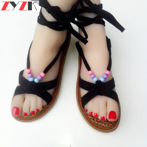 CLEARANCE - MODSQUID STOCK: ZYZK Brand 2016 New Palm Fiber Handmade Peep Toe Sandals Flats Flat Cross Strap Sandal Gladiators Sandals Bead Beach Shoes Women