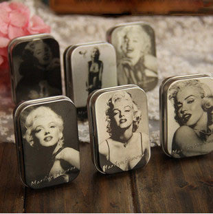 CLEARANCE - MODSQUID STOCK: Zakka groceries tin, Marilyn Monroe tin box, retro jewelry box, storage box L6.5 * W4.5 * D1.6cm, 3pcs wholesale