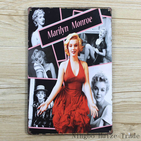 CLEARANCE - MODSQUID STOCK: Vintage metal painting retro metal tin sign 20cm*30cm art posters Marilyn Monroe Paintings wall sticker home cafe bar wall decor