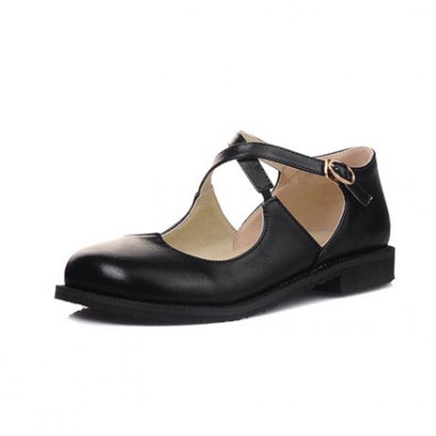 CLEARANCE - MODSQUID STOCK: New Vintage Round Toe Mary Jane Flat Shoes For Woman Sexy Cross Strap Women Flats Ladies Casual Flat Shoes Shoes Woman Oxfords