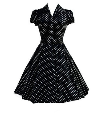50s Vintage Retro Dress Audrey Hepburn Style Blue Polka Dot Rockabilly Dress with Turn-down Collar Alternative Measures - Brides & Bridesmaids - Wedding, Bridal, Prom, Formal Gown