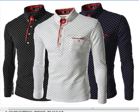 2014 New England men's fashion wave point tide men's casual long-sleeved shirt POLO 7519 Slim Men