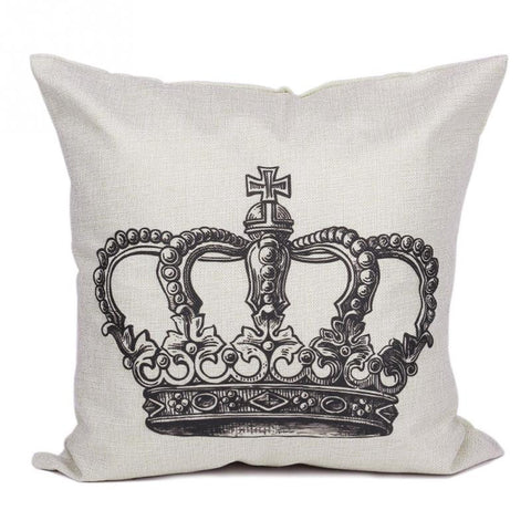 1pc Crown Pattern Pillow Cover Linen Cushion Covers Pillowcase For Home Sofas Cars Deocration