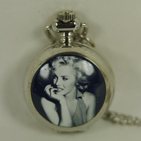 CLEARANCE - 2012 shipping hot sale new men women lady Antique Mini Pocket Watch Marilyn Monroe Oomph Locket Necklace Pendant With wp245