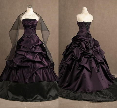 Ball Gowns Backless Bridal Skirt Halloween Victorian Purple And Black Gothic Strapless Wedding Dresses Taffeta Vestidos De Novia Alternative Measures - Brides & Bridesmaids - Wedding, Bridal, Prom, Formal Gown